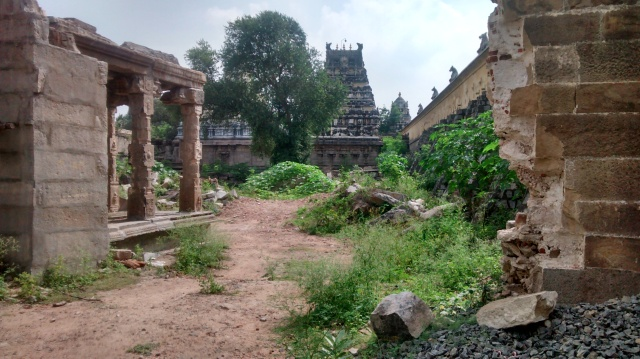 On the backside of the Ekambareswarar temple, there is a comples with mantaps, but they are in a dilapidated condition