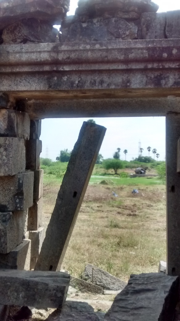 Pennalur Siva Temple - entrance-Door frame right hanging out-view from inside