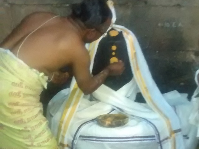 Pennalur Siva Temple - Lingam- deocorated after abhisekam