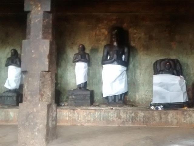 28. Tirukkadaiyur temple- Idols-murtis of Nalvar kept in veliprakaram RHS.
