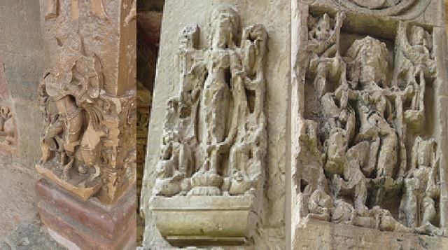 10. சௌரசி 84- தூண் -உடைக்கப்பட்டுள்ள சிற்பங்கள்