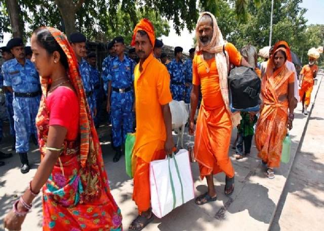 Ayodhya - many times heavily armed forces terrorize poor devotess
