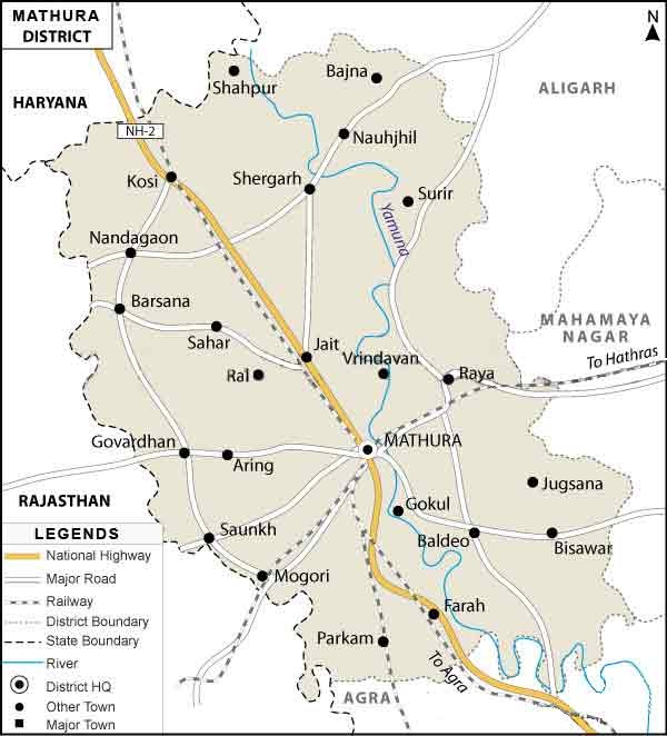 Mathura important places map