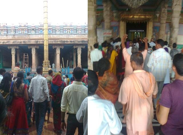 7. விருந்தாவனம் -  ரங்கநாத கோவில் உள்ளே தரிசனத்திற்கு நிற்கும் பக்தர்கள்