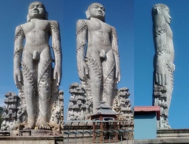 தர்மஸ்தல பஹுபலி ஜைன சிலை. பக்கங்கள்