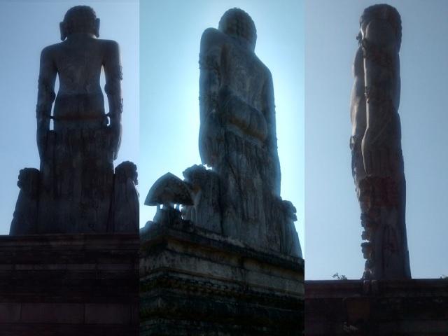 தர்மஸ்தல பஹுபலி ஜைன சிலை. பின் - பக்கவாட்டுப் படங்கள்