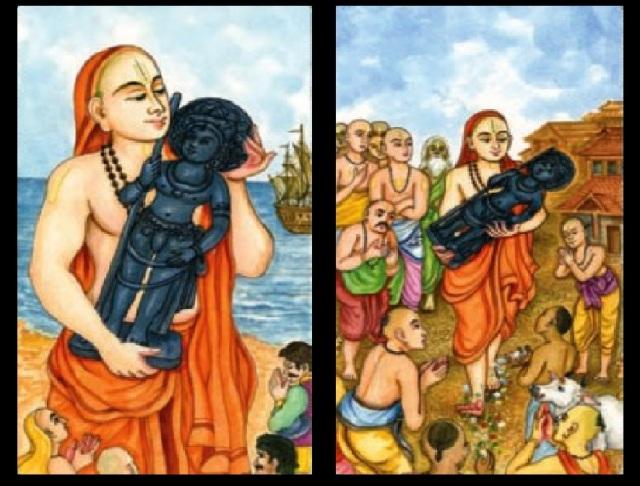 Madwacharya bringing Krishna Idol