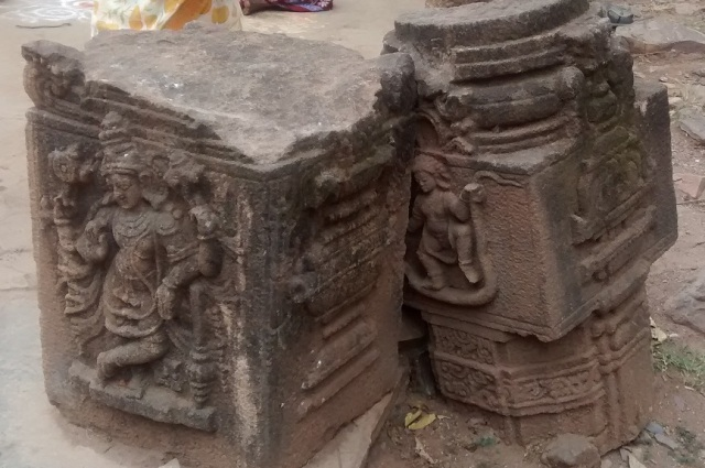 Karanja - Saranga Narasimha temple -parts of carved pillars LHS entrance.