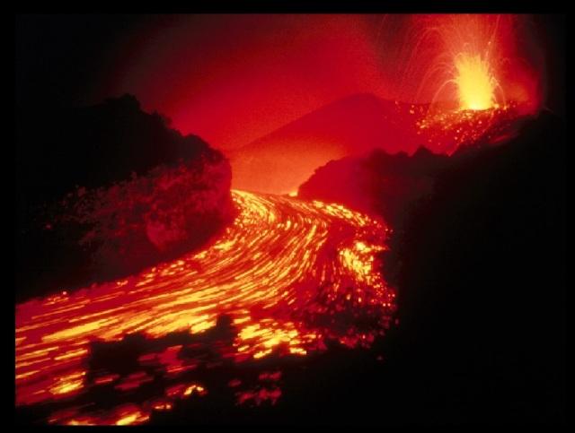 Volcanic fluid settling down
