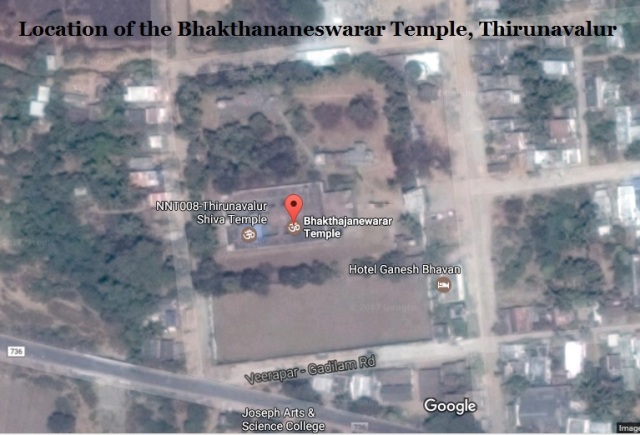Location of the Bhakthananeswarar Temple, Thirunavalur