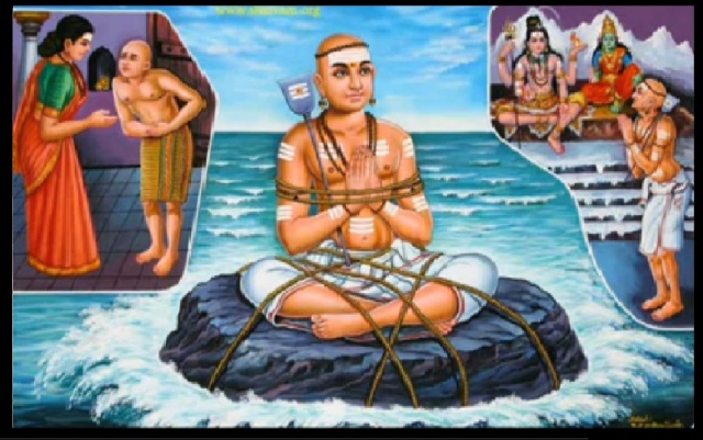 Appar escaped with the blessings of Shiva