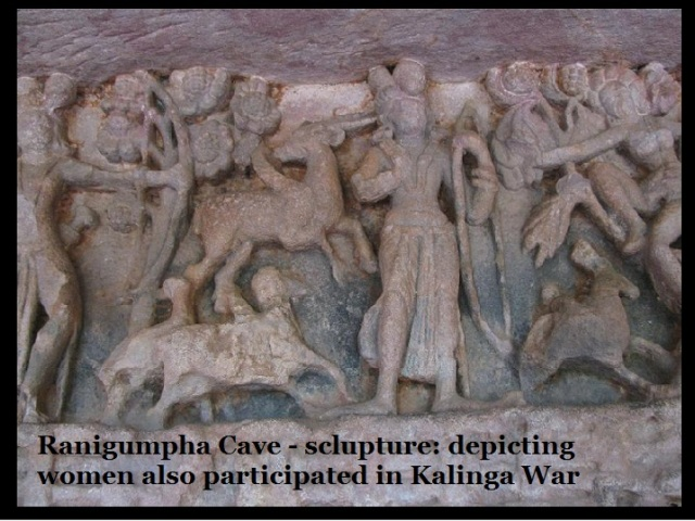 Ranigumpha Cave - sclupture-depicting women also participated in Kalinga War