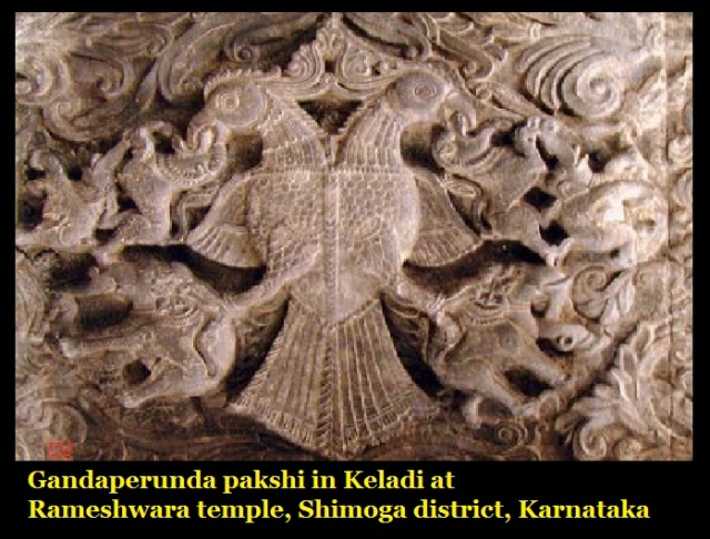 Gandaperunda pakshi-in Keladi at Rameshwara temple, Shimoga district, Karnataka