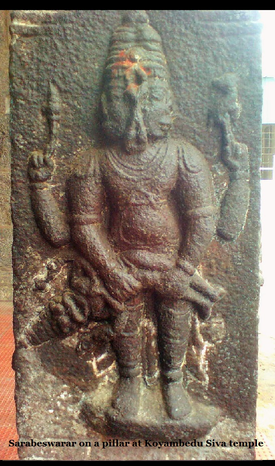 Sarabeswarar on a pillar at Koyambedu Siva temple