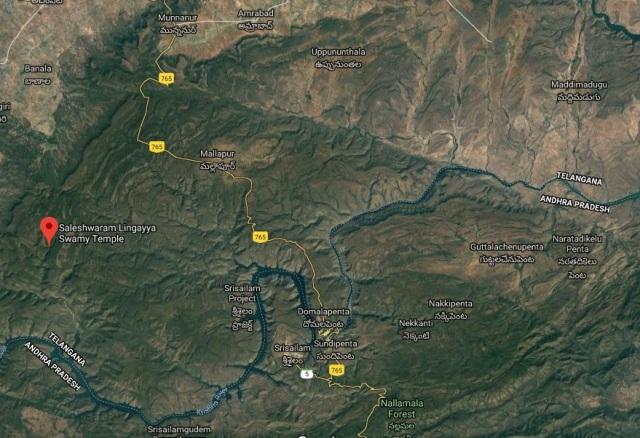 Saleswaram, location from Mannanur-Srisailam-google map