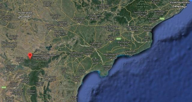 Saleswaram, location from Mannanur-Srisailam, Hyderabad-google map