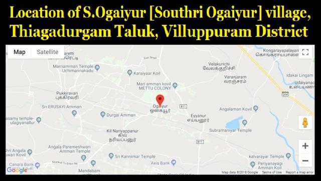 Location of Ogaiyur Village, Villuppuram