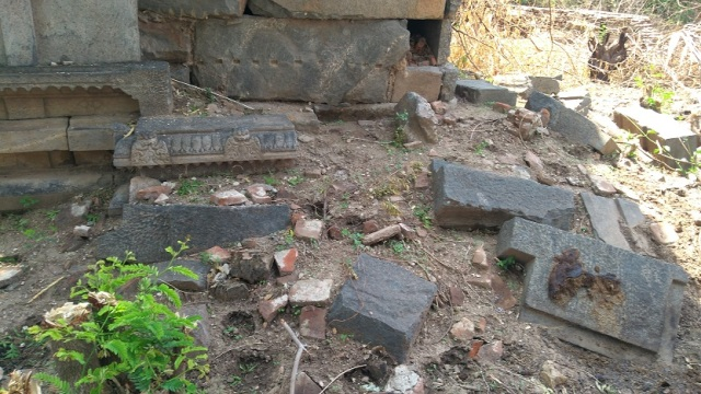 Perumal temple, parts broken down, strewn