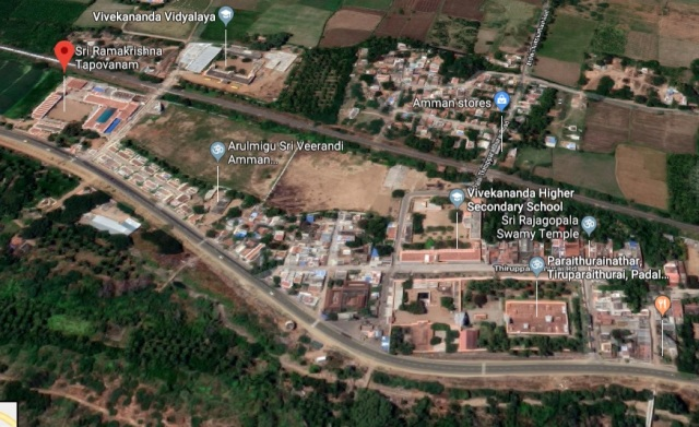 Ramakrishna Tapovan and Tirupparaythurai temple - Aerial view