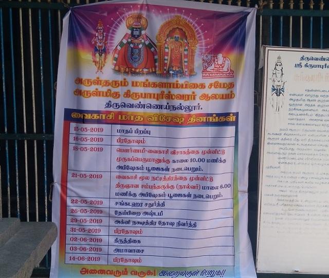 Thiruvennainallur temple - Vaikasi month program